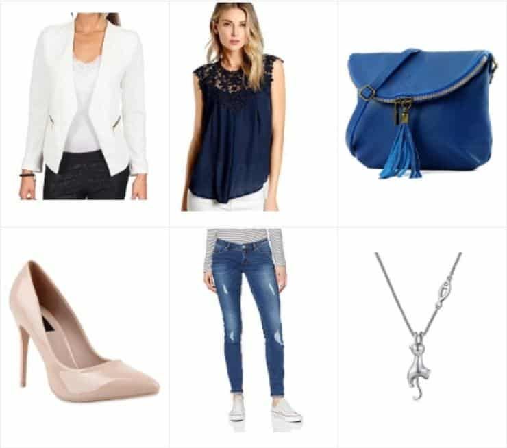 Stylisches Party-Fashion-Outfit mit blauer Clutch