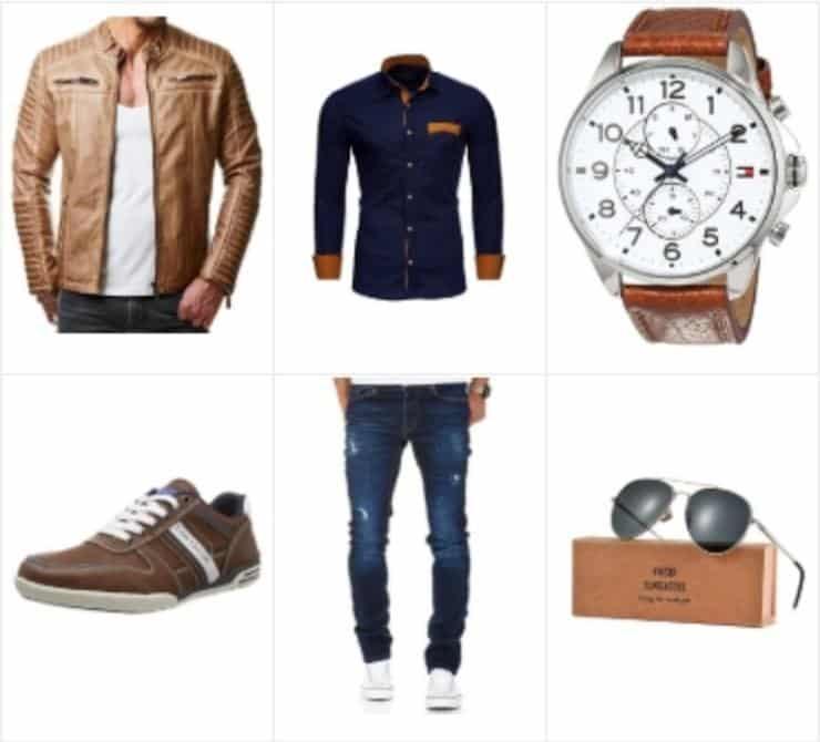 Mote antrekk for menn med brunt skinnjakke et must, for hver garderobe.