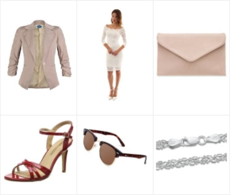 Zomerse damesmode-outfit met witte zomerjurk