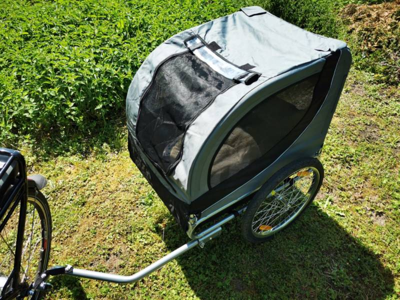 Bicycle dog trailer - traveling with dog.
