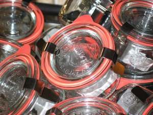 Mason jars with rubber and clamps